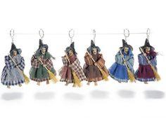 Porte clés avec sorcière en tissu et resine avec balai