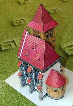 An Urban Church Free Building Paper Model Download - http://www.papercraftsquare.com/urban-church-free-building-paper-model-download.html#1150, #BuildingPaperModel, #Church