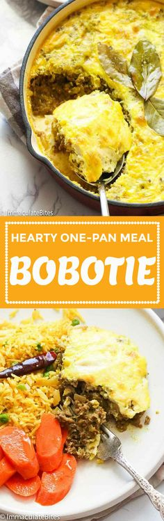 Bobotie - hearty and comforting South African dish made primarily of curried minced meat topped with milk and egg mixture and baked to perfection. Oxtail Recipes, Beef Recipes, Bobotie Recipe South Africa, Mince Dishes, Beef Dishes, South African Dishes, Indian Dishes, African Stew, Brown Stew Chicken