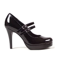 4 Inch High Heel Platform Mary Janes Double Strap Great For Womens Theatre Costumes Black Size: 10 by UnknownTake for me