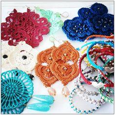 my personal bijoux:  orecchini in pizzo e uncinetto.  bracciali con cotone cerato e perline.  bijoux handmade realizzati da ilerobybijoux