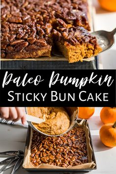 This Sticky Bun Pumpkin Spice Cake is super easy to make and it's both gluten free as well as paleo. It's perfectly moist, wonderfully spiced for fall, and extra tasty with the sticky bun topping. It's sort of like a cross between pumpkin cake and pecan pie bars, and it's great to serve for special breakfasts and as a dessert. #pumpkinspice #pumpkincake #glutenfree #paleo