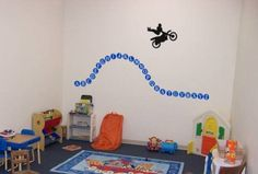 abc wall decal, alphabet with dirtbike sticker, educational wall decal, boys room motorcycle decal, childs room, Big 74 X 38 inch 724-KA