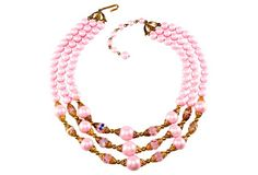 Pink Faux-Pearl & Crystal Bead Necklace