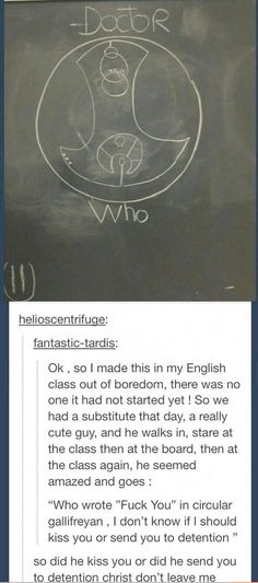 Circular gallifreyan, dr who, doctor who humor, doctor who funny, torchwood funny Dr Who, Space Man, Funny Quotes, Funny Memes, Funny Art, That's Hilarious, Mom Funny, Funny Tweets, Funny Pics