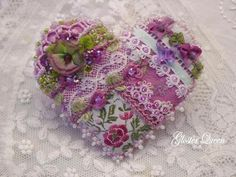 Crazy quilt felt heart brooch / pin with beautiful vintage trims by GlosterQueen on Etsy