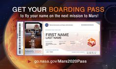 Send Your Name to Mars. View and share your Boarding Pass. See your Frequent Fly… Send Your Name to Mars. Mission Mars, Red Planet, First Humans, Space Travel, Space Exploration, Your Name, See You, New Technology, First Names