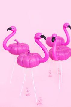 Mini flamingo pumpkins by Aww Sam