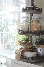 """Use a fancy cake stand to display/stand storage jars ("""",)"""