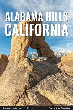 Discover hundreds of marked and unmarked arches in Alabama Hills California. It's a great adventure travel destination for hiking, rock climbing, mountain biking, jeeping, photography and camping. So many things to do and the whole area is on BLM land so there's free camping for your rv motorhome, #vanlife diy campervan conversion or 5th wheel travel trailer to park during a road trip.