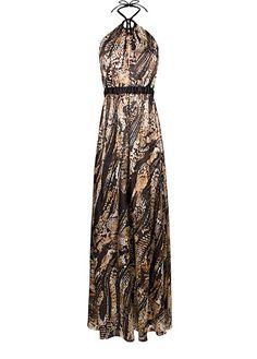 MANGO - Silk dress with animal-print
