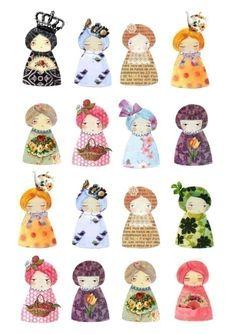 Paperdolls print by munieca on Etsy. Decoupage Vintage, Vintage Paper Dolls, Paper Art, Paper Crafts, Diy Paper, Santoro London, Paper People, Illustration, Kokeshi Dolls
