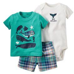 Retail kids bebes Baby Boys Girls summer Clothings Sets,caca Baby(Bodysuit+Short+Bodysuit)3pcs Set, Whale Patter