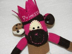 Sock Monkey Doll Princess Plush Toy - Sock Monkey Princess - Wearing Crown - Personalize with Name on Chest.  via Etsy.