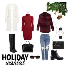 """Holiday wishlist!"" by gabby-kezia on Polyvore featuring Rumour London, Thierry Mugler, Givenchy, Topshop, LE3NO, RED Valentino, MICHAEL Michael Kors, Ray-Ban and Daniel Wellington"