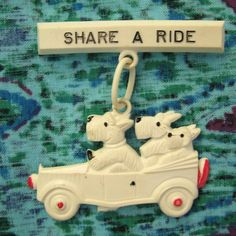 40s Celluloid Plastic SHARE A RIDE White Dogs in Car Dangle Pin
