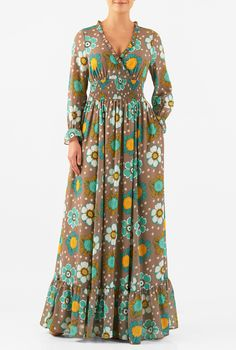 5389064821f6 Our floral print georgette maxi dress is cut at floor length with a  flounced tier at