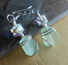 Sea Glass Earrings  Beach Glass Jewelry  ONCE IN by SeaFindDesigns