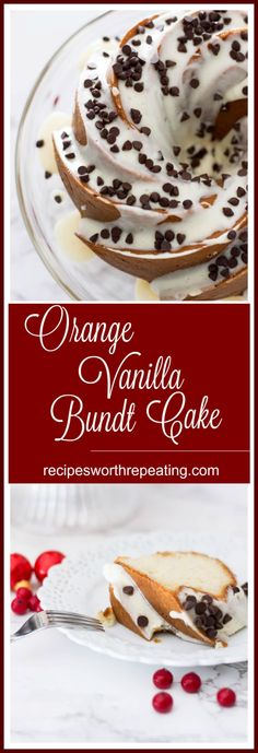 This Orange Vanilla Bundt Cake is moist, flavorful and infused with orange zest! Top this cake with a quick and easy vanilla frosting and sprinkle on those mini chocolate chips! It's a total crowd pleaser and such a pretty bundt cake. I even provide you with a gluten free version! #cake #bundtcake #vanilla #dessert #chocolatechips #glutenfree | recipesworthrepeating.com