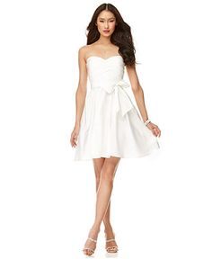 Calvin Klein Dress, Strapless Belted Sweetheart Neck A-Line - Womens Dresses - Macy's