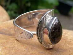 HANDCRAFTED 925 SILVER RING FREE SIZE BLACK RUTILATED QUARTZJEWELLERY
