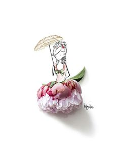 Girl Illustrations, Illustration Girl, Minimal Drawings, Daily Journal, Little Doll, Pink Peonies, Flower Girls, Cute Cartoon, Fashion Art