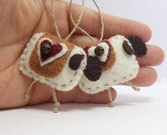 2 Primitive Folk Art Felt Sheep Ornaments by BananaBugAndZod