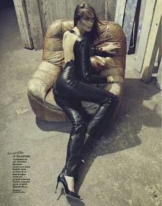 Cora Keegan in leather by Valentino