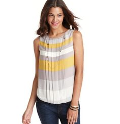 Petite Ice Cream Stripe Pleated Shell  Love the gray and yellow!