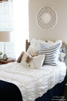 Guest Bedroom Ideas by A Blissful Nest LOVE the Chic White Beddy's! So easy for guests to make the bed...just zip it up. #ABlissfulNest #InteriorDesign #Decorator #Stylist #Blissful #HappyHome #designtips