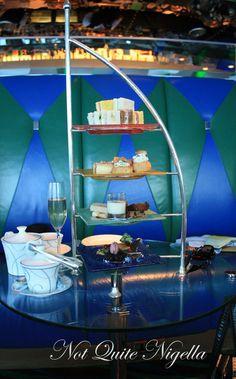 High tea at the Burj Al Arab. Tea stand looks like the building