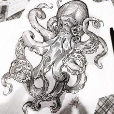One of Remi's sketches: The Kraken Octopus Tattoo Sleeve, Octopus Tattoo Design, Octopus Tattoos, Sleeve Tattoos, Tattoo Design Drawings, Tattoo Sketches, Tattoo Designs Men, Art Sketches, Octopus Drawing