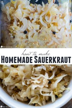 If you love sauerkraut on brats, on reubens, or just a pinch by itself while the rest of the food is cooking, you'll love this homemade sauerkraut recipe! German Sauerkraut Recipe, Homemade Sauerkraut, Sauerkraut Recipes, Cabbage Recipes, Homemade Kraut Recipe, Fermentation Recipes, Canning Recipes, New Recipes, Vegan Recipes