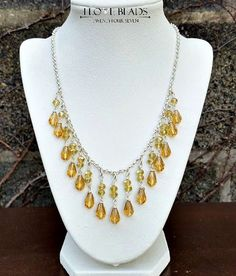 yellow crystal necklace-yellow and silver necklaces-yellow crystal  necklace-waterfall necklace graduated crystal necklace-crystal necklace