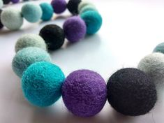 Mermaid Ombre Garland / Purple and Mint Felt Ball Garland / Felt Ball Garland, Pom Pom Garland, Mermaid Birthday Decorations, Felt Gifts, Mermaid Room, Fabric Gifts, Personalised Gifts, Online Gifts, Inspirational Gifts