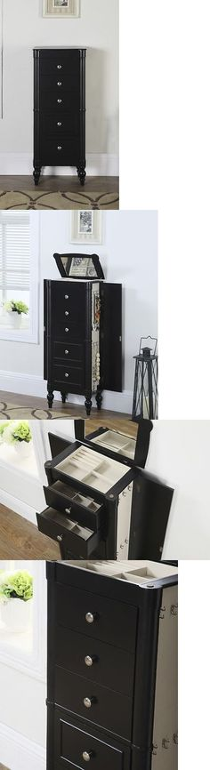 jewelry box armoire stand up mirror ring necklace organizer wood cabinet - Stand Up Jewelry Box