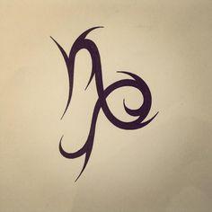 Awesome Tribal Capricorn Tattoo Design