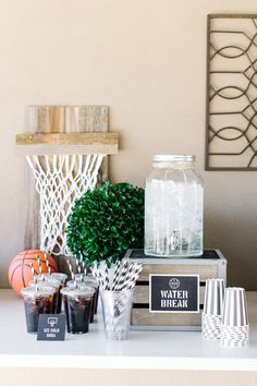 Water Break. Cute setup for a basketball party.