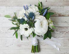 Silk Boho Bouquet - Peony Bouquet, Silk Peonies, Anemones, Thistles, White Bouquet, Wedding Bouquet, Boho Chic Bouquet, Cream, Blue Bouquet