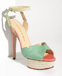 charlotte olympia mint green and peach suede wedding heels