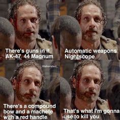 S5 E1 absolutely adore BADASS crazy Rick grimes ❤️☺️ it just felt so right seeing him talk like that.