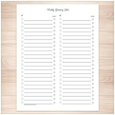 Weekly Grocery List - Full Page Clean and Simple - Printable