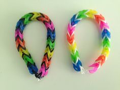 Rainbow loom FISHTAIL. What a difference one band color change makes! Neons with white and black.