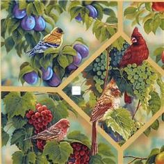 Jacobean arbor on Ivory cotton fabric~Timeless Treasure in Crafts, Sewing & Fabric, Fabric Kitchen Fabric, Jacobean, Fabric Panels, Hobbies And Crafts, Wine Tasting, Cotton Fabric, Bird, Bottle, Glass