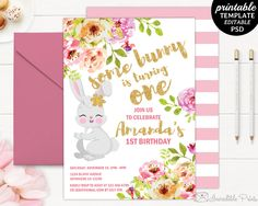 Printable Girl First Birthday Cute Bunny Party Invitation Template. Bunny Birthday Invite Template. Watercolor Floral Birthday Invitation by HandmadeIncredible on Etsy