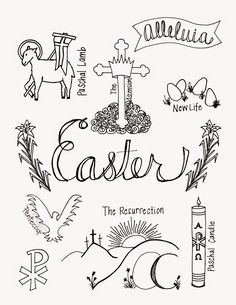 what easter looks like coloring page with symbols of easter look to him and