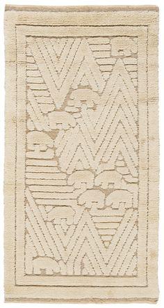 Södra Kalmar Läns Hemslöjd; Wool Relief Rug, 1954.