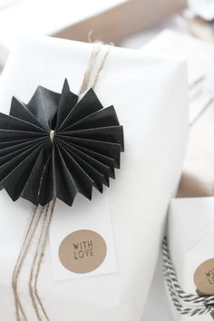 Make this beautiful black embellishment by folding cardstock tying it in the center and then gluing the ends together. elisabeth heier: J U L E T R E F F