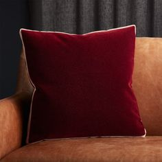 "18"" Bardo Rust Velvet Pillow with Feather-Down Pillow Insert"