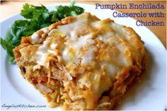 Pumpkin Enchiladas Casserole -- #GlutenFree #DairyFree